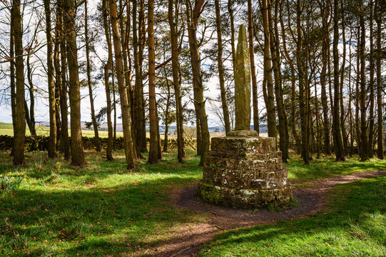 Battle of Otterburn Monument, which marks a battle in 1388 between the Scottish and English near Otterburn village in Northumberland