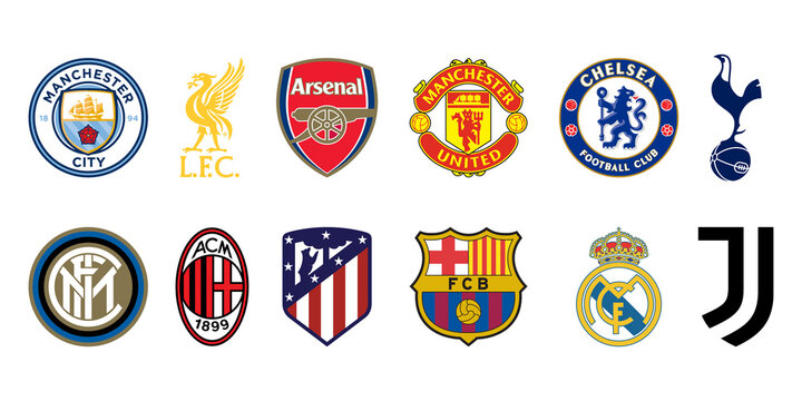Super League football soccer clubs logo set. Editorial image. VINNITSIA, UKRAINE. APRIL 19, 2021...
