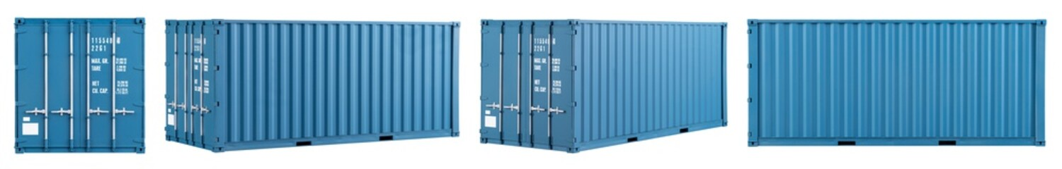 Obraz set collection of blue shipping cargo container in various different angles isolated white background. transportation ship delivery logistics and freight concept. - fototapety do salonu