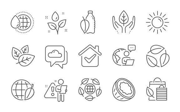 Sun, Organic tested and Weather forecast line icons set. World water, Environment day and Coconut signs. Eco organic, Bio shopping and Plants watering symbols. Line icons set. Vector