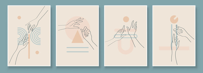 Modern Abstract Art Illustration with Woman Hands. Set of aesthetic organic art in one line style for house decoration. Minimalistic canvas background design. Vector wall art shapes in boho style.