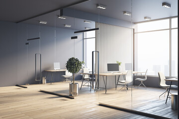 Spacious sunny office with wooden furniture, partitions, tree in flowerpots, light chairs and glossy floor. 3D rendering