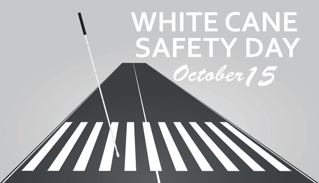 White cane safety day card. vector