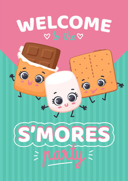 Cartoon characters chocolate, marshmallow and crackers invite on S'mores party