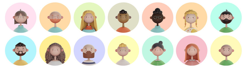 Série de portrait illustration enfantin 3d de personnage souriant et heureux pouvant illustrer des avatars de profil