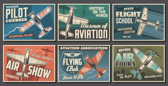Aviation retro airplanes vector posters set. Pilot training courses, flying school and club, air show, aviation history museum banners. Vintage propeller monoplane, old aircraft flying in sky