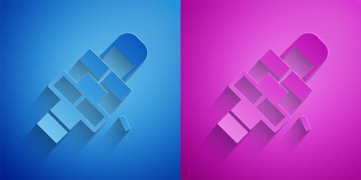 Paper cut Hopscotch icon isolated on blue and purple background. Children asphalt coating drawing. Paper art style. Vector