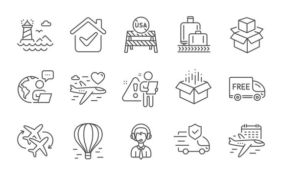 Select flight, Honeymoon travel and Baggage reclaim line icons set. Usa close borders, Air balloon and Shipping support signs. Open box, Free delivery and Transport insurance symbols. Vector