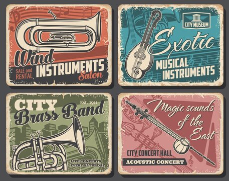 Music instruments and live acoustic concert vector retro posters. Euphonium and french horn, double neck guitar or mandolin and kamancheh. Music band concert, instruments museum and salon banners