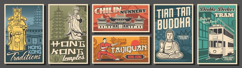 Obraz Hong Kong travel, landmarks, culture and religion vector retro posters. Vector sea Goddess, Chi Lin nunnery and Great Buddha statue, Taijiquan kung fu master, double-decker tram and pagoda tower - fototapety do salonu