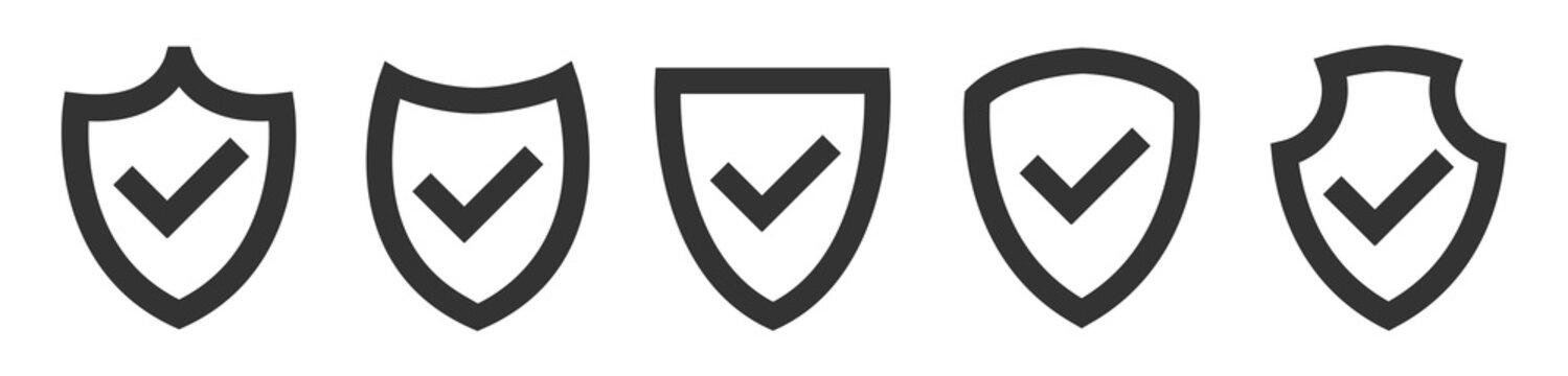Shield with checkmark icon set
