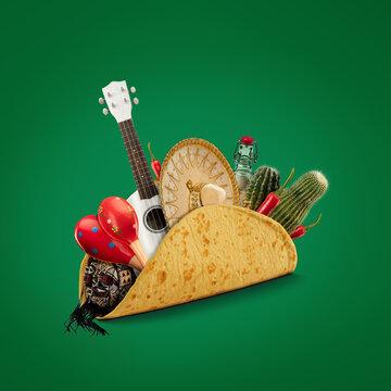 Fresh and tasty taco filled with Sombrero, Ukulele, Maracas, cactus, drink on green background.