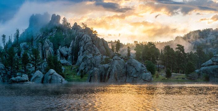 Sunrise from Sylvan Lake in Custer State Park - South Dakota