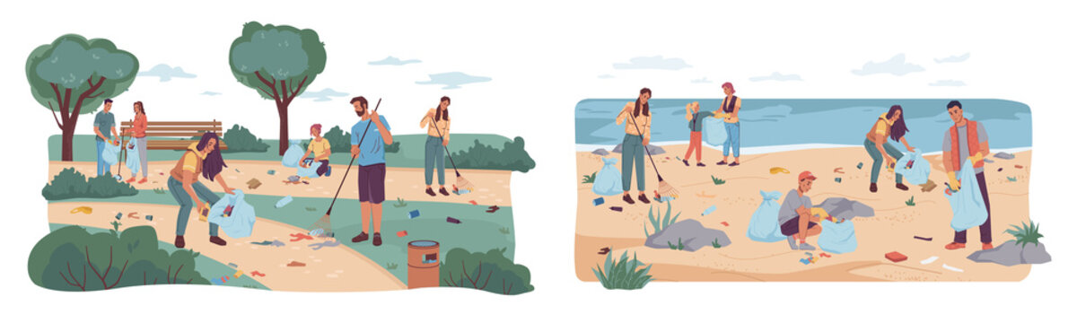 People volunteers cleaning up city park and beach from wastes, flat cartoon design. Vector team of adults kids pickup rubbish into bags. Environment protection. Man woman collecting garbage together