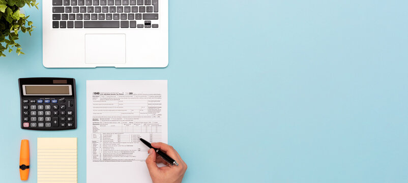 Tax income concept with US tax form