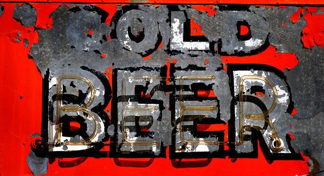 Old Roadside Cold Beer Sign Vintage Americana