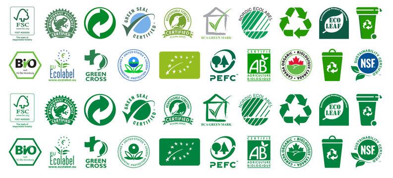 Collection of Bio and Eco Certification Logos. BIO, Nordic Ecolabel, Certifie Agriculture Biologique, Rainforest Alliance, Green Cross, PEFC, FSC, Canada Organic