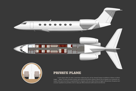 Private airplane interior. Side and top view of bussiness plane. Plane seats map. 3d drawing of commercial aircraft. Luxury jet industrial blueprint. VIP tourism