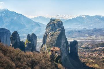 Fototapeta Greece, monastery on the rocks in Meteora