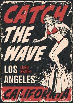 Surfing vintage poster