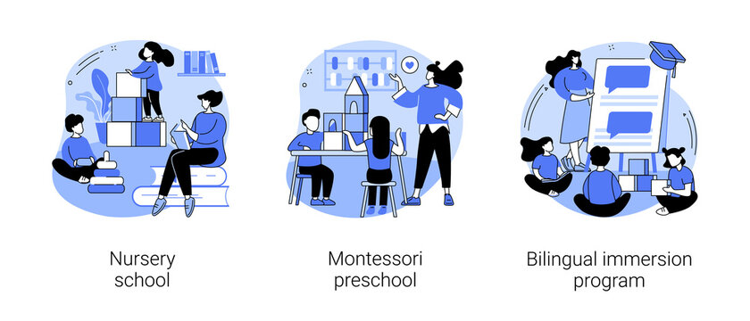 Early education abstract concept vector illustrations.