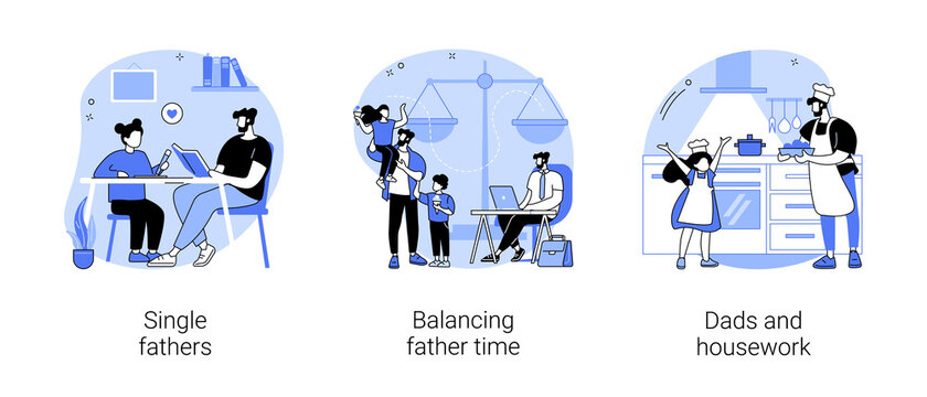 Fatherhood abstract concept vector illustrations.
