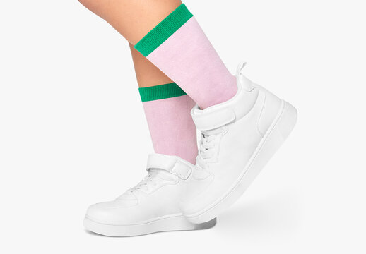 Colorful Socks Mockup and White Sneakers