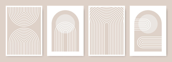 Obraz Arches abstract posters. Arc print set in minimalistic style. Boho home decor of circles and lines in pastel colors. Rainbow wall art illustrations. - fototapety do salonu