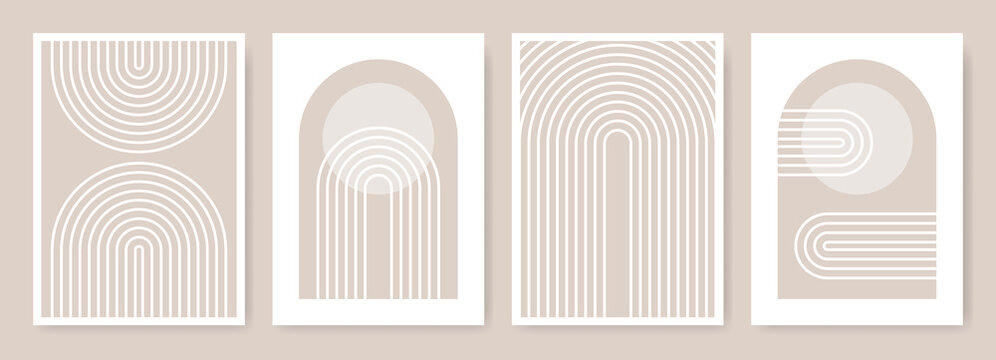 Arches abstract posters. Arc print set in minimalistic style. Boho home decor of circles and lines in pastel colors. Rainbow wall art illustrations.