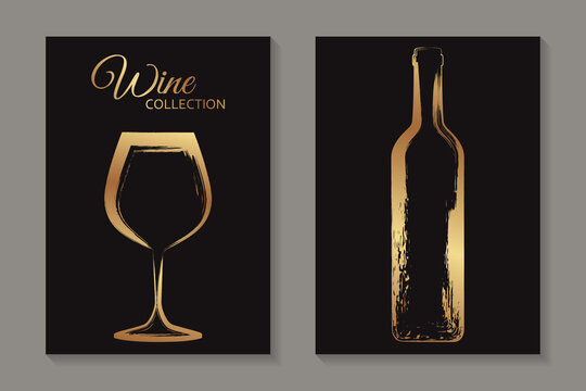 Modern abstract luxury card templates for wine tasting invitation or bar and restaurant menu or banner or logo with golden glass and bottle in grunge style on a black background.