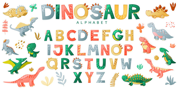 Cartoon cute dinosaur alphabet. Vector illustration with dino for t-shirts, cards, posters, birthday party, paper design, kids and nursery design.
