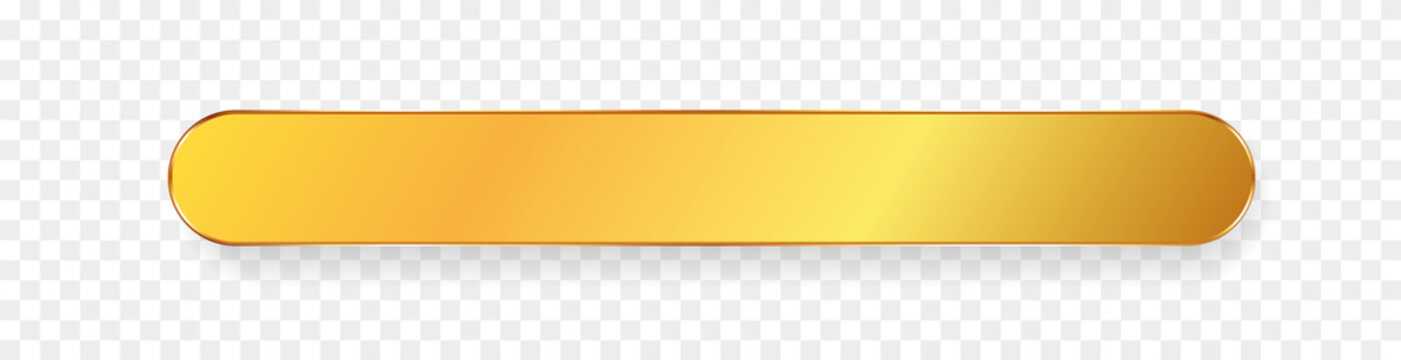 long gold ribbon banner with gold frame on transparent background