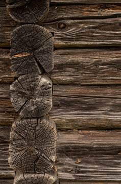 Wooden log cabin or felling texture or background