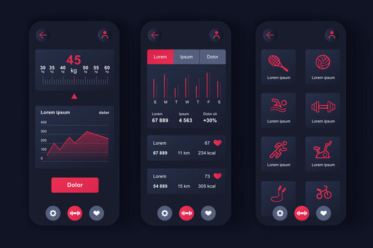 Fitness workout unique neomorphic design kit for app. Choice of fitness program, health monitoring and current activity level. Sport planner UI, UX template set. GUI for responsive mobile application.