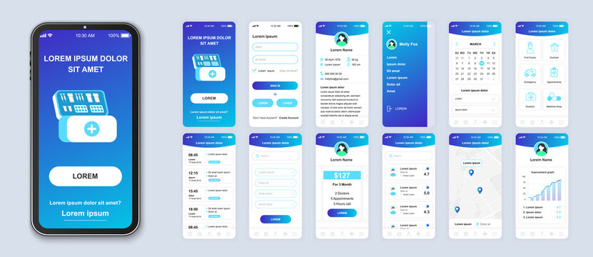 Medicine smartphone interface vector templates set. Healthcare mobile app page blue design layout. Pack of UI, UX, GUI screens for application. Phone display. Web design for online clinic kit