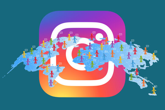 . Chernivtsi. Ukraine - April 19. 2021. The concept of social networks. Global business. Crowdsourcing. Followers of the social network Instagram.