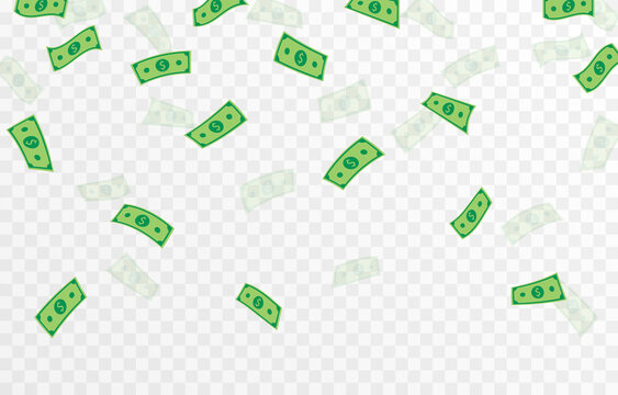 Vector money is falling from the sky. Money png, bills png. Explosion of money on isolated transparent background.