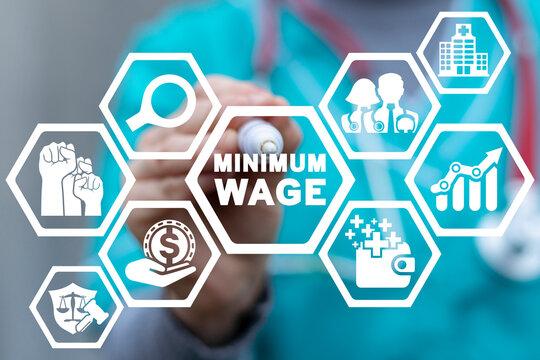 Medical concept of minimum wage. Medicine staff minimum salary management.