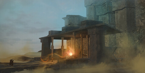 Fototapeta Digital fantasy painting of a magic ritual in a desert temple by a cult of mysterious monks - 3d illustration obraz