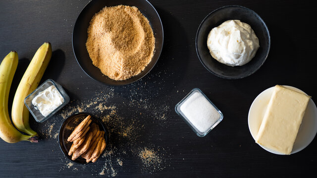 Cooking Banoffi cake at home in the kitchen, pastry recipe.