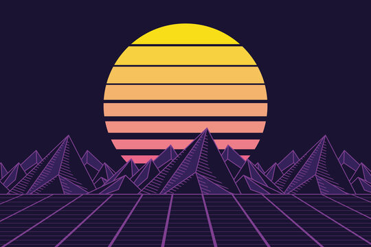 retrofuturistic moutains poster