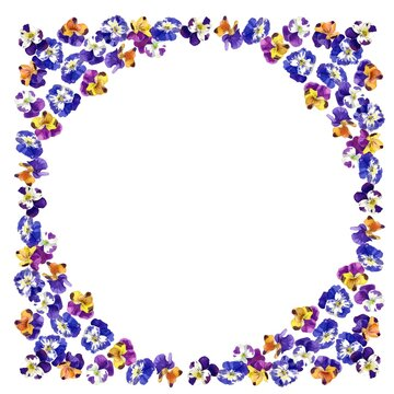 A Vector Frame of Pansies