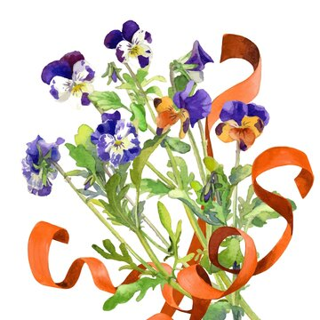 Bouquet of pansies with ribbons