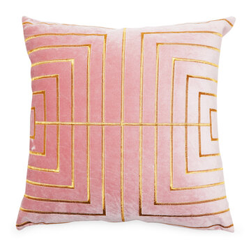Square Shape Throw Pillow Isolated on White. Plush Decorative Stitched Cushion with Feather Fill, Glam Rose Gold Satin Stitching & Upholstered Pink Polyester Velvet. Snug Lush Toss Pillow Front View