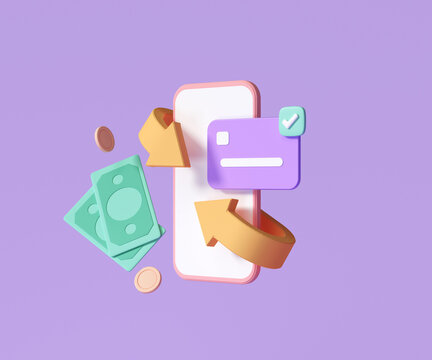 Cashback and money refund icon concept. banknote, credit card and coin stack with smartphone, online payment background. 3d render illustration