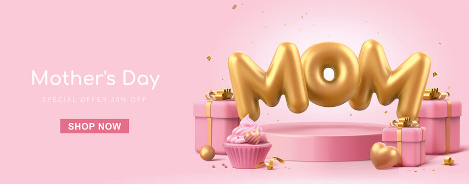 3d pink Mother's Day banner