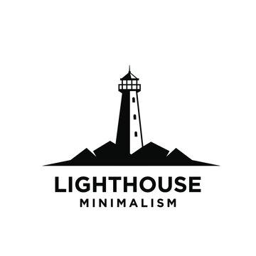 vintage premium minimalism lighthouse vector logo design