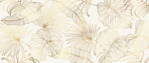 Fototapeta Luxury gold tropical leaves background vector. Wallpaper design with golden line art texture from palm leaves, Jungle leaves, monstera leaf, exotic botanical floral pattern.