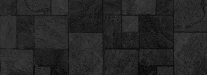 Fototapeta Panorama of Building exterior black granite block wall texture and background seamless