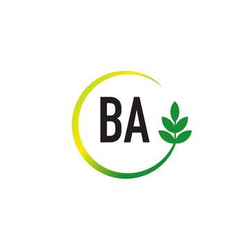Initial Letter BA Circle Leaf Creative Logo Design Template. Green circle template logo